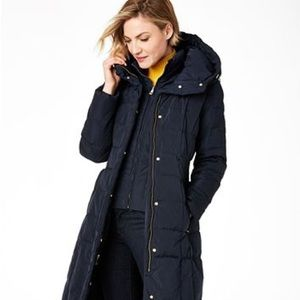 Cole Haan Box Quilt Down Puffer Coat Navy - Small
